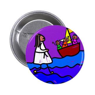 Jesus Walks on Water Pinback Button