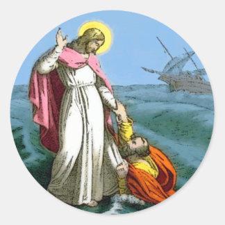 Jesus Walks on Water Classic Round Sticker