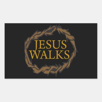 Jesus Walks Rectangular Sticker