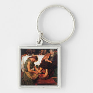 Jesus Washing Peter's Feet Silver-Colored Square Keychain
