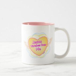 Jesus watches over me Christian gift design Two-Tone Coffee Mug