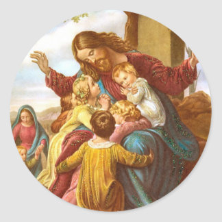 Jesus Welcomes Children round stickers