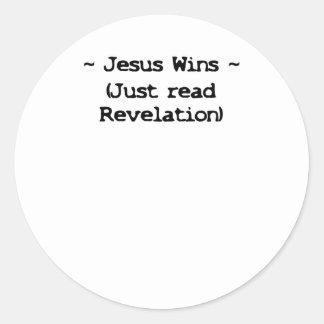 Jesus Wins Classic Round Sticker