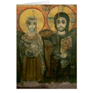 Jesus with Abbot Coptic Icon Card