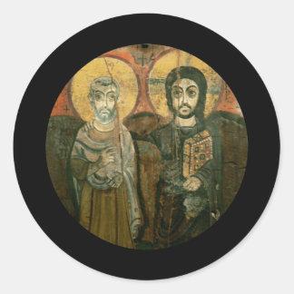 Jesus with Abbot Coptic Icon Classic Round Sticker