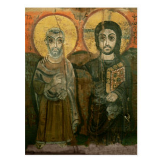 Jesus with Abbot Coptic Icon Postcard