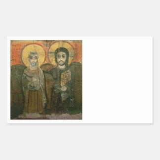 Jesus with Abbot Coptic Icon Rectangular Sticker