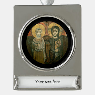 Jesus with Abbot Coptic Icon Silver Plated Banner Ornament