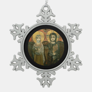 Jesus with Abbot Coptic Icon Snowflake Pewter Christmas Ornament