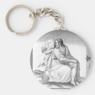 JESUS WITH AN ANGEL KEYCHAIN
