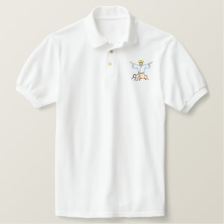 Jesus with Children Embroidered Polo Shirt