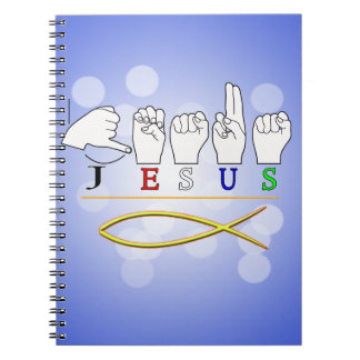 JESUS with CHRISTIAN FISH SYMBOL FINGERSPELLED ASL Notebook