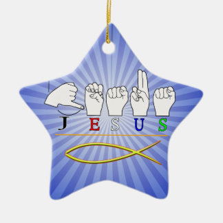 JESUS with CHRISTIAN FISH SYMBOL FINGERSPELLED ASL Christmas Ornaments