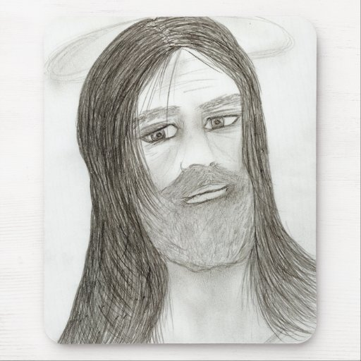 Jesus With Halo Mouse Pad