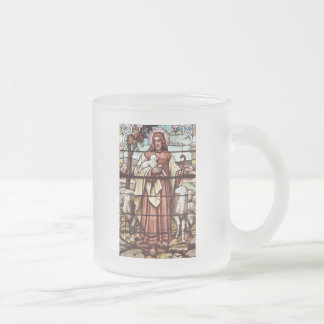 Jesus with His Sheep Frosted Glass Coffee Mug