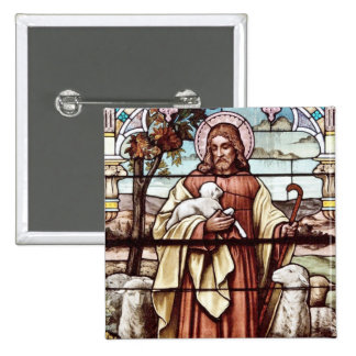 Jesus with His Sheep Pinback Button