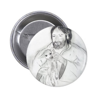 Jesus With Lamb Button
