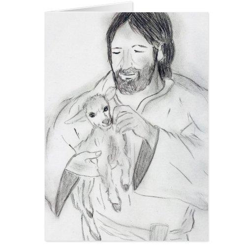 Jesus With Lamb Card