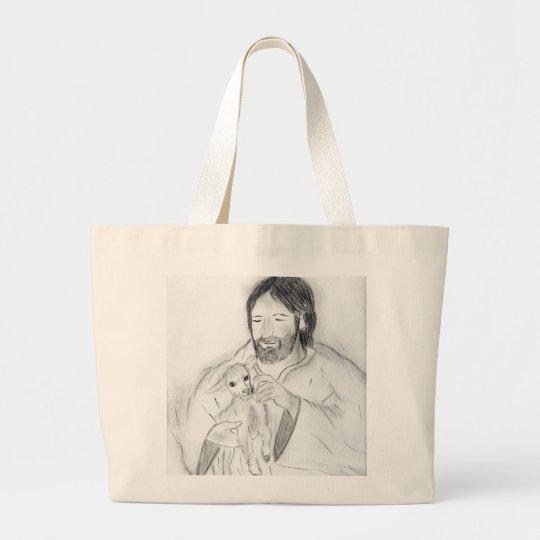 Jesus With Lamb Large Tote Bag