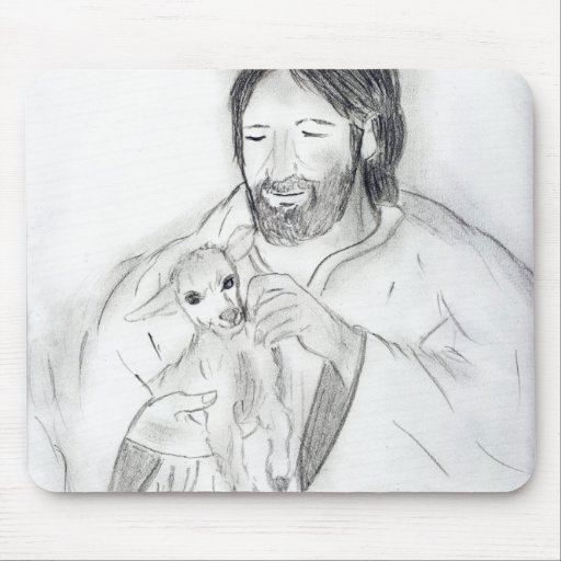 Jesus With Lamb Mouse Pad