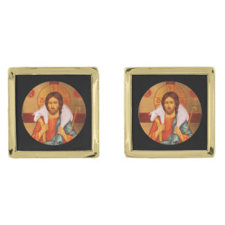 Jesus With Lamb on His Shoulders Gold Cufflinks