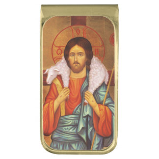Jesus With Lamb on His Shoulders Gold Finish Money Clip