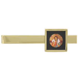 Jesus With Lamb on His Shoulders Gold Finish Tie Clip