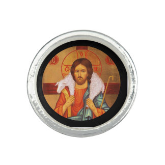 Jesus With Lamb on His Shoulders Photo Ring