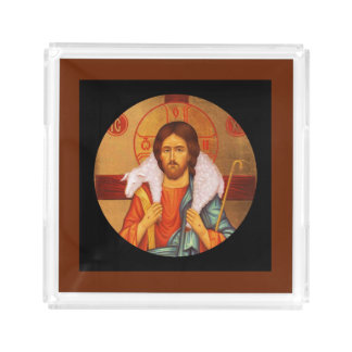 Jesus With Lamb on His Shoulders Serving Tray