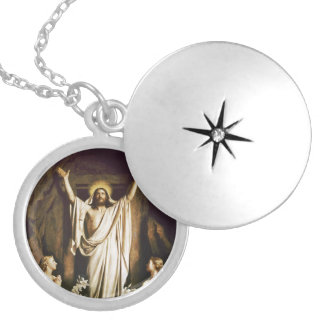 Jesus with Mary After Resurrection Round Locket Necklace
