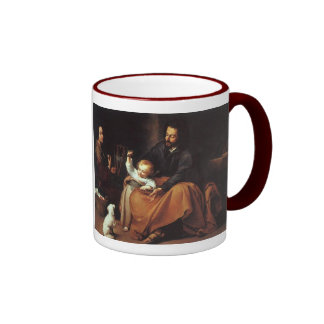 Jesus with Sparrow - Murillo, ...The Word was... Ringer Coffee Mug