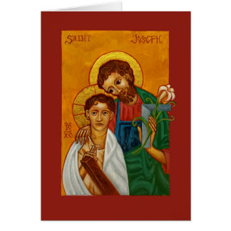Jesus with St Joseph as Worker & Father Blank Card Greeting Card