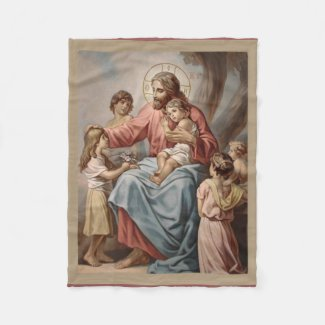Jesus with the Children Boys Girls Fleece Blanket