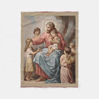 Jesus with the Children Boys Girls Fleece Blanket