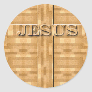 Jesus Wood Carving Classic Round Sticker