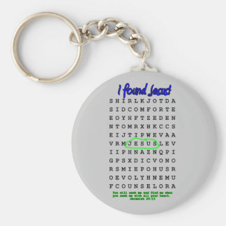Jesus Word Search Puzzle Basic Round Button Keychain