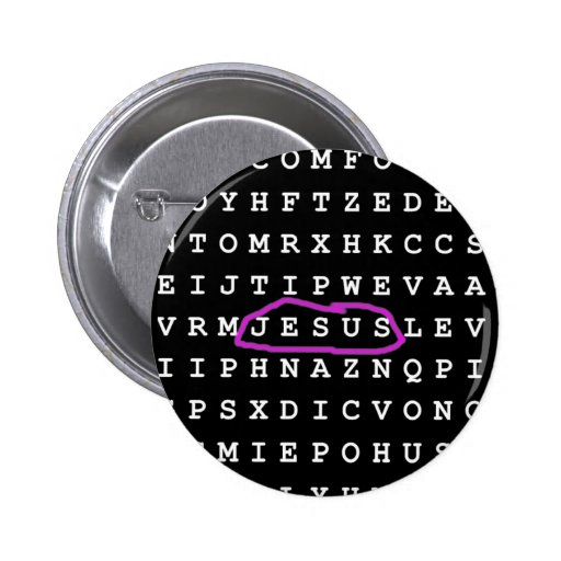Jesus Word Search Puzzle Pinback Buttons