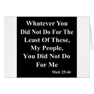 Jesús y ayuda de ésos menos afortunados tarjeta de felicitación