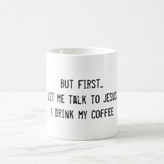 Jesús y café taza básica blanca