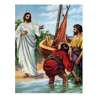 Jesús y cuatro pescadores postales