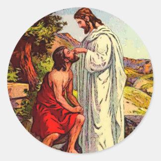 Jesús y el hombre ciego pegatina redonda