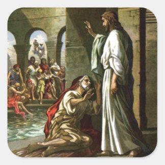Jesús y el hombre en la piscina pegatina cuadrada