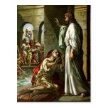 Jesús y el hombre en la piscina postal