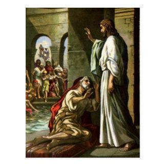 Jesús y el hombre en la piscina tarjetas postales