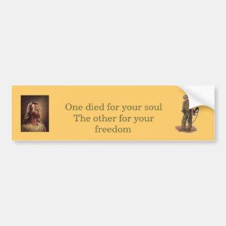 Jesús y el soldado pegatina de parachoque