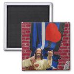 Jesús y la bandera de cuero imán de frigorifico