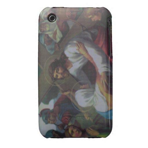 Jesús y la cruz iPhone 3 Case-Mate protectores