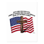 Jesús y la cruz rugosa los E.E.U.U. de los soldado Tarjetas Postales