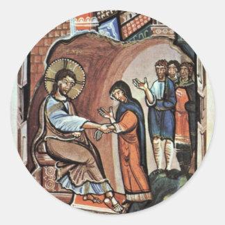 Jesús y la madre de Peter por DES Hitda de Meister Pegatina Redonda
