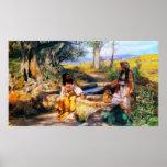 Jesús y la mujer del samaritano en el pozo de Jaco Póster